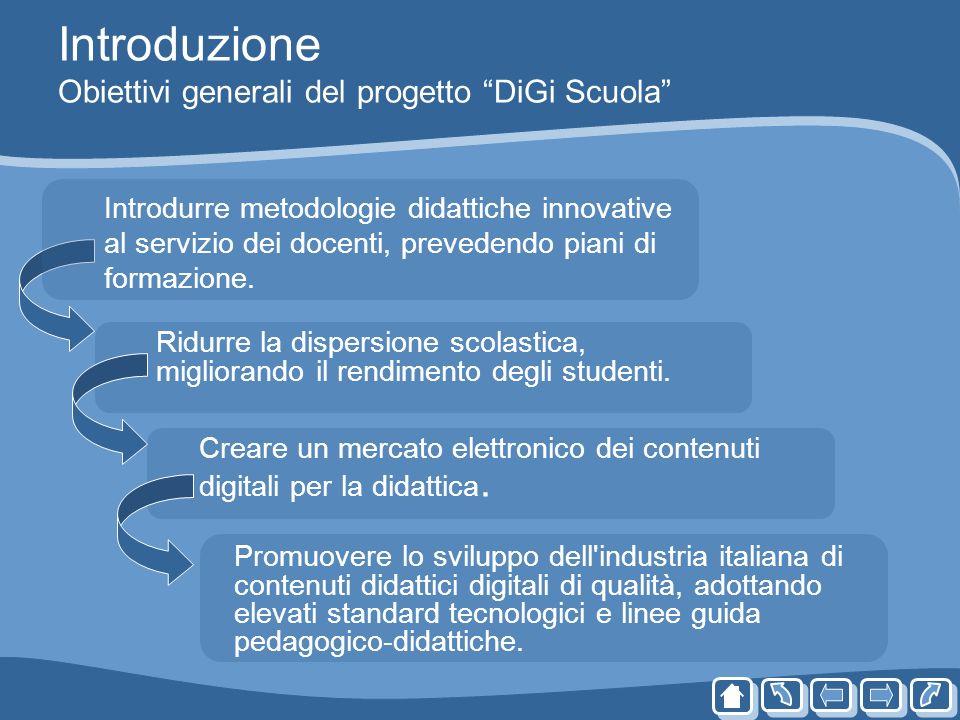 Introduzione Obiettivi generali del progetto DiGi Scuola Ridurre la dispersione scolastica, migliorando il rendimento degli studenti. Creare un mercat