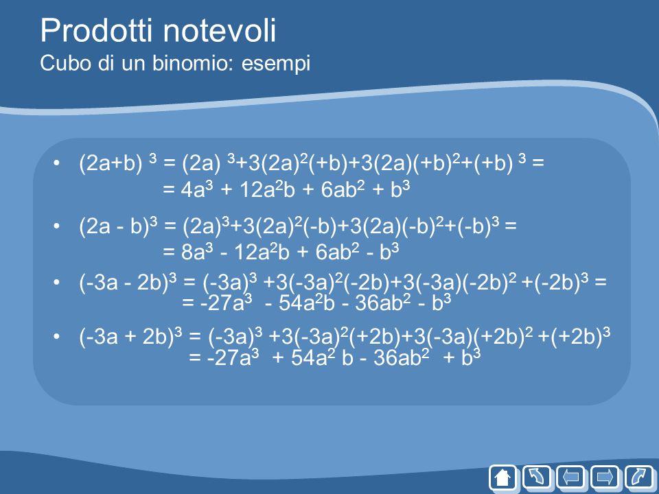 Prodotti notevoli Cubo di un binomio: esempi (2a+b) 3 = (2a) 3 +3(2a) 2 (+b)+3(2a)(+b) 2 +(+b) 3 = = 4a 3 + 12a 2 b + 6ab 2 + b 3 (2a - b) 3 = (2a) 3