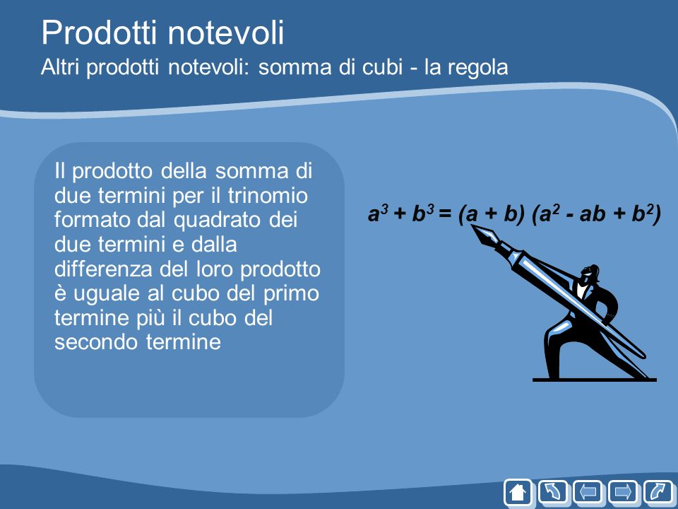 Prodotti notevoli Altri prodotti notevoli: somma di cubi - la regola Il prodotto della somma di due termini per il trinomio formato dal quadrato dei d