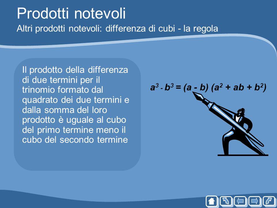 Prodotti notevoli Altri prodotti notevoli: differenza di cubi - la regola Il prodotto della differenza di due termini per il trinomio formato dal quad