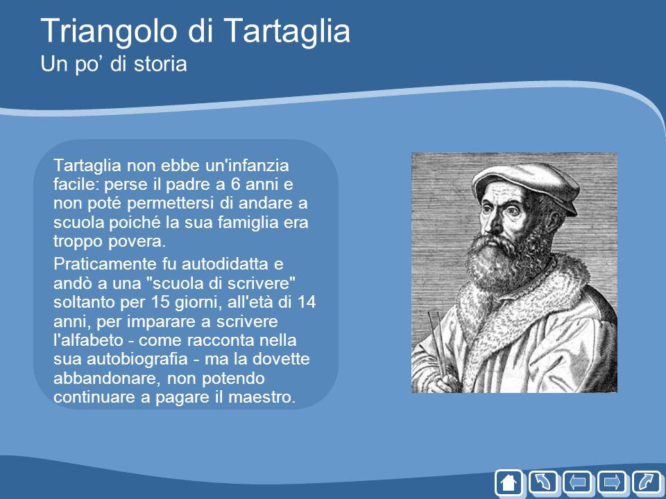 Triangolo di Tartaglia Un po di storia Tartaglia non ebbe un'infanzia facile: perse il padre a 6 anni e non poté permettersi di andare a scuola poiché