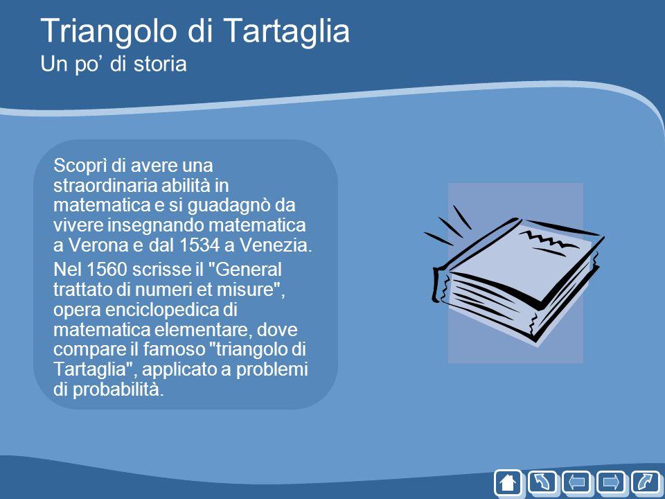 Triangolo di Tartaglia Un po di storia Scoprì di avere una straordinaria abilità in matematica e si guadagnò da vivere insegnando matematica a Verona