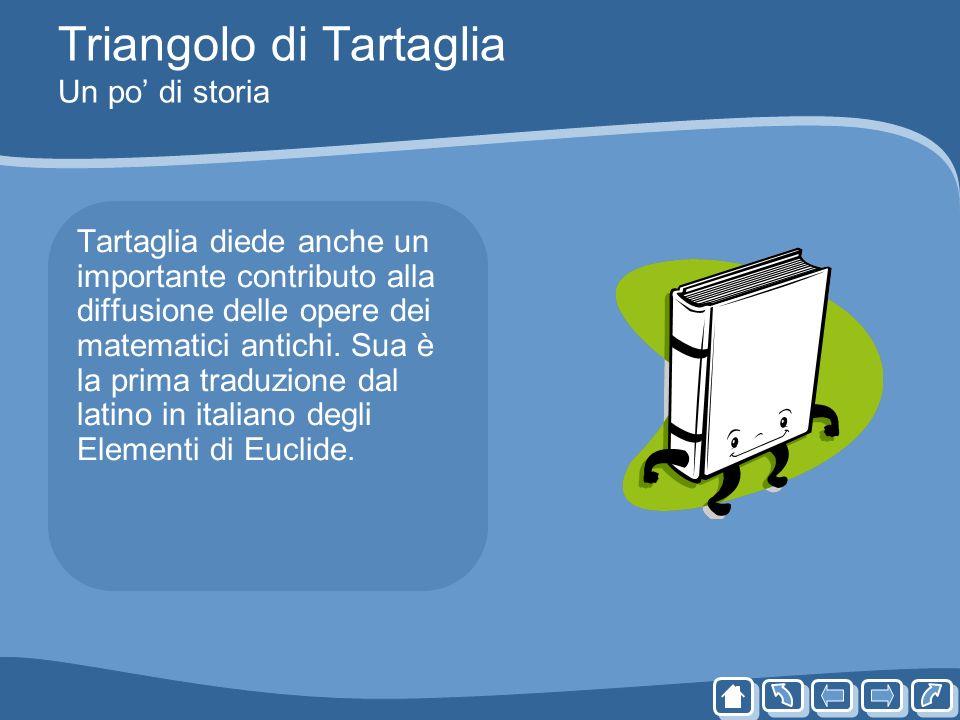 Triangolo di Tartaglia Un po di storia Tartaglia diede anche un importante contributo alla diffusione delle opere dei matematici antichi. Sua è la pri