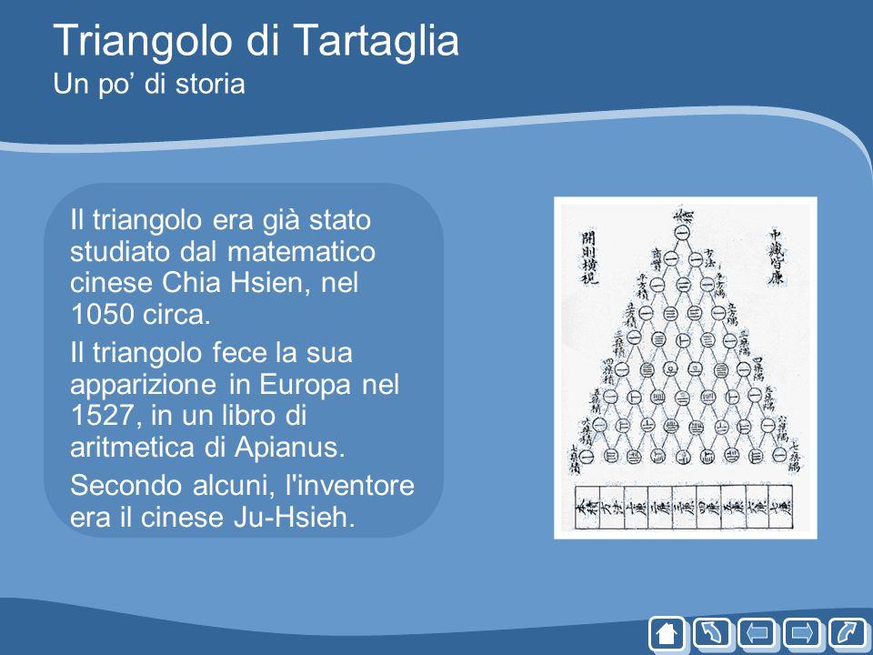 Triangolo di Tartaglia Un po di storia Il triangolo era già stato studiato dal matematico cinese Chia Hsien, nel 1050 circa. Il triangolo fece la sua