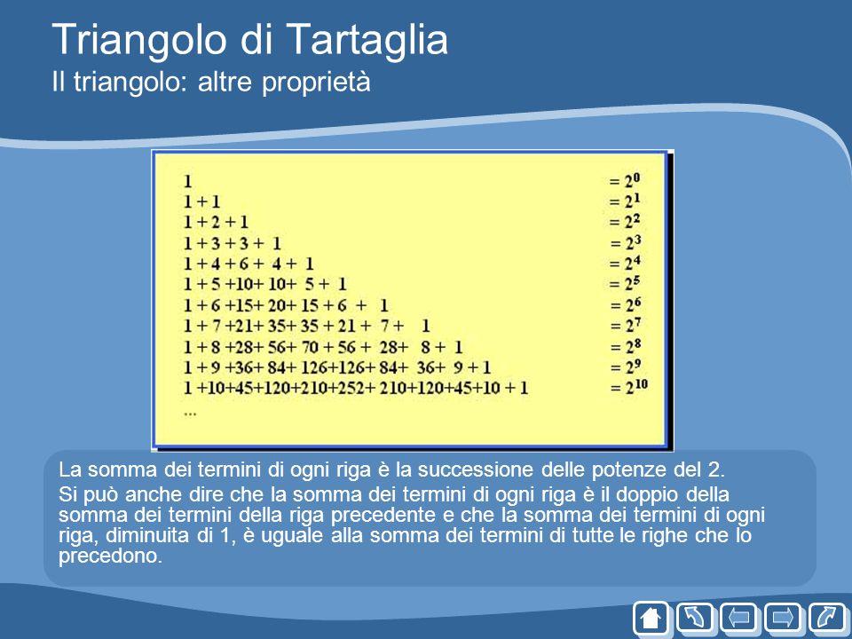Triangolo di Tartaglia Il triangolo: altre proprietà La somma dei termini di ogni riga è la successione delle potenze del 2. Si può anche dire che la