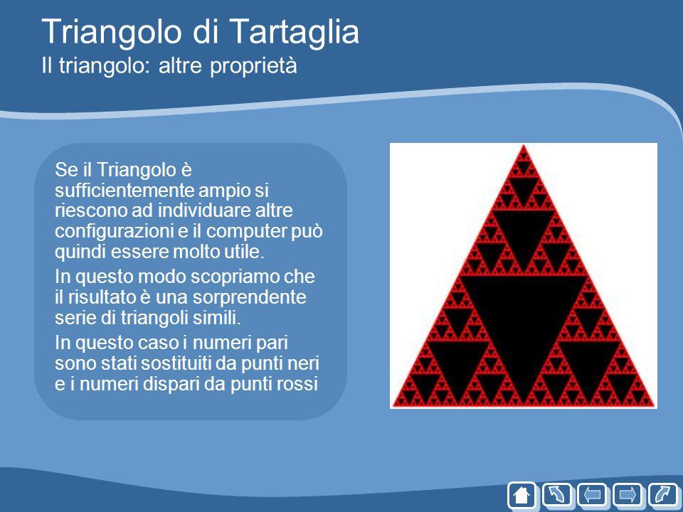 Triangolo di Tartaglia Il triangolo: altre proprietà Se il Triangolo è sufficientemente ampio si riescono ad individuare altre configurazioni e il com