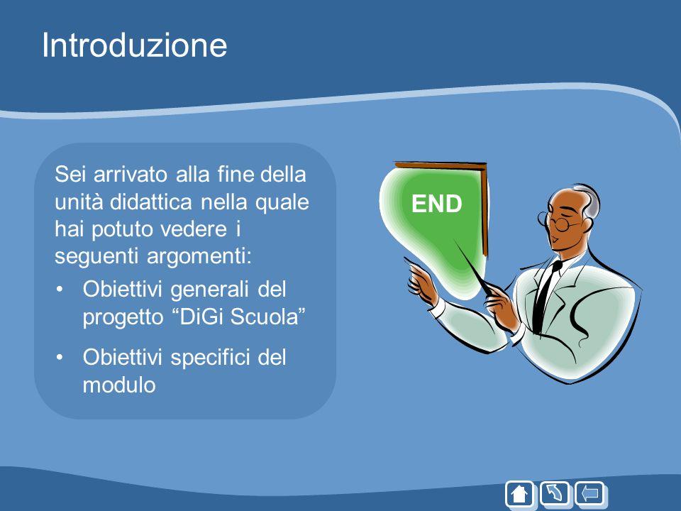 Introduzione Sei arrivato alla fine della unità didattica nella quale hai potuto vedere i seguenti argomenti: Obiettivi generali del progetto DiGi Scu