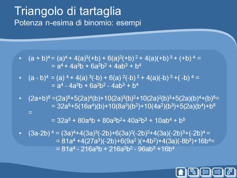 Triangolo di tartaglia Potenza n-esima di binomio: esempi (a + b) 4 = (a) 4 + 4(a) 3 (+b) + 6(a) 2 (+b) 2 + 4(a)(+b) 3 + (+b) 4 = = a 4 + 4a 3 b + 6a