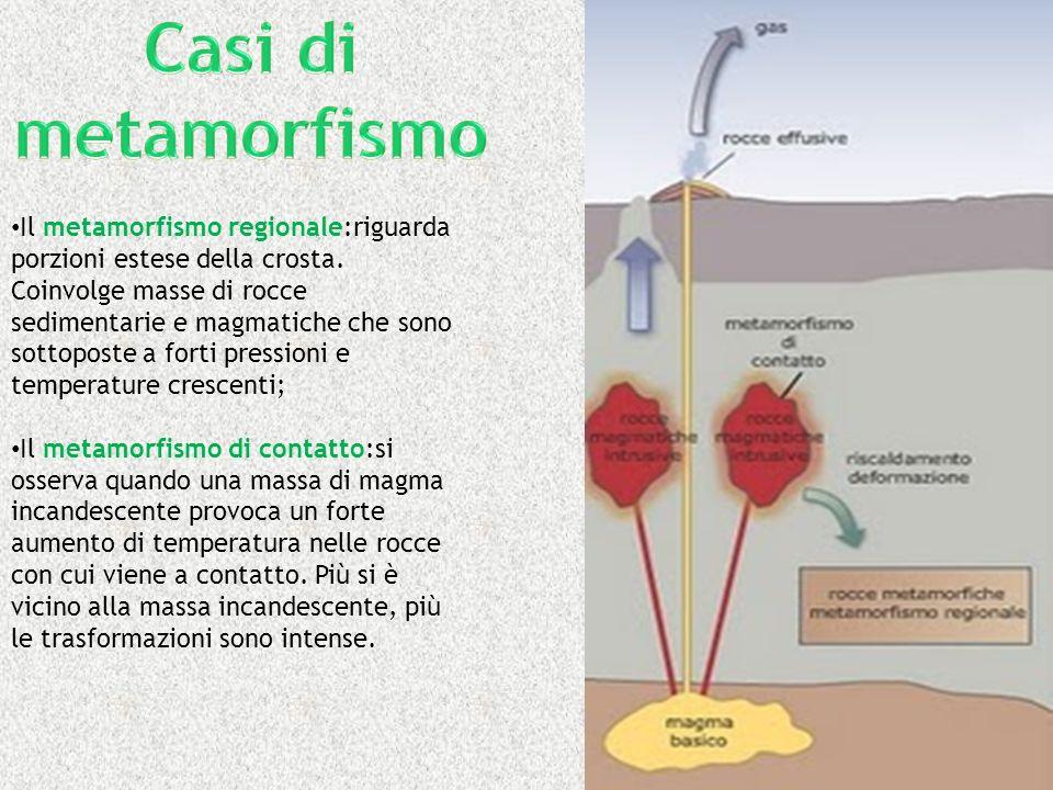 Il metamorfismo regionale:riguarda porzioni estese della crosta. Coinvolge masse di rocce sedimentarie e magmatiche che sono sottoposte a forti pressi