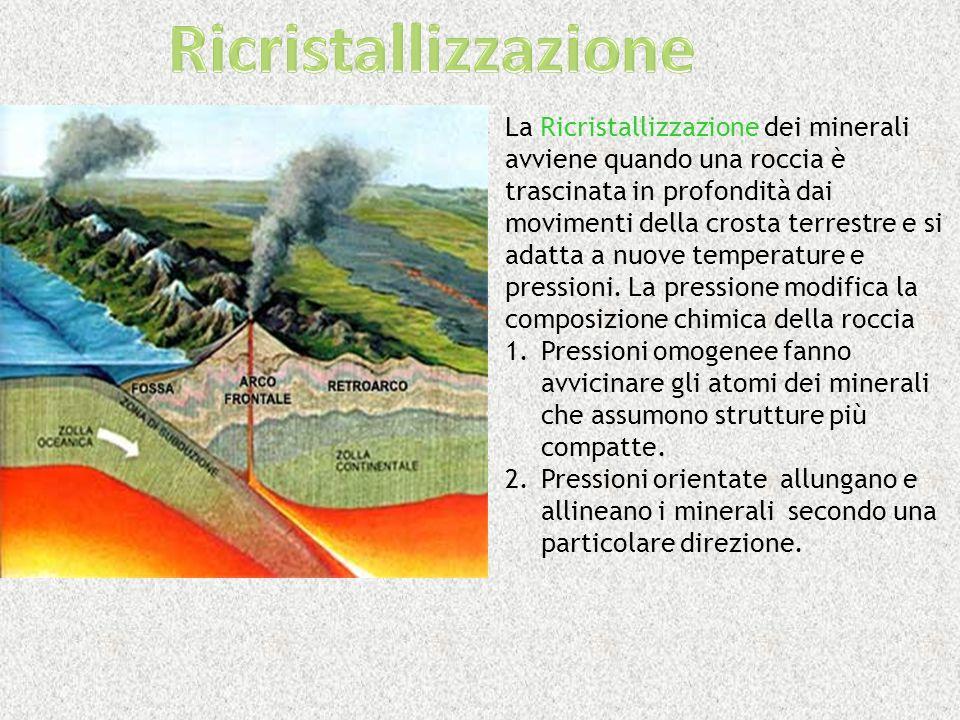 La Ricristallizzazione dei minerali avviene quando una roccia è trascinata in profondità dai movimenti della crosta terrestre e si adatta a nuove temp