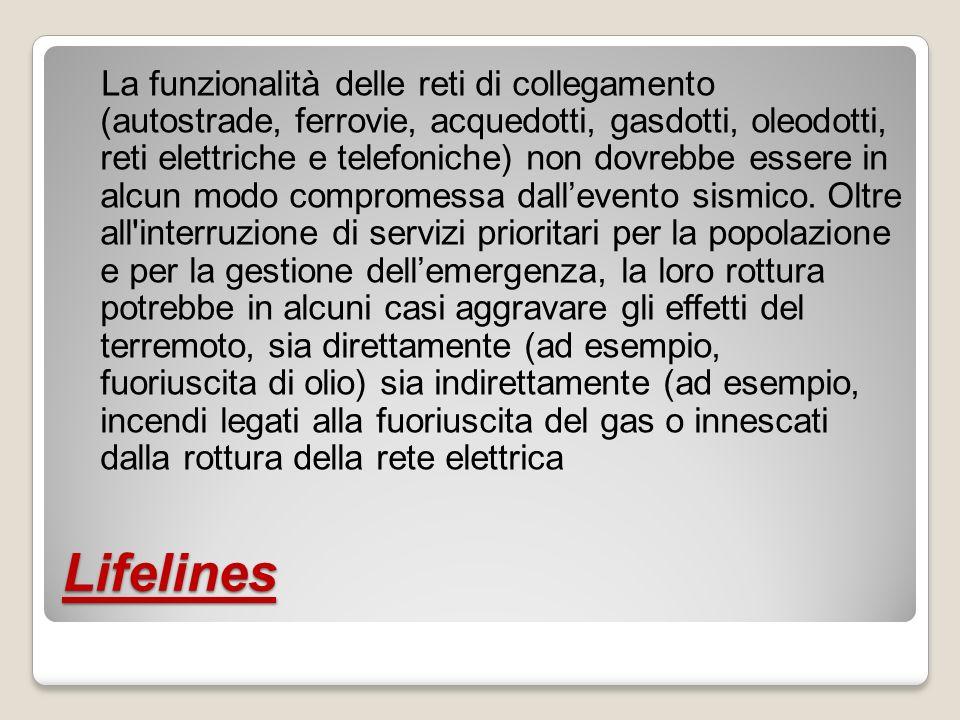 Molte lifelines italiane attraversano zone di faglia senza che siano state prese adeguate contromisure, come avviene in altre parti del mondo (es.