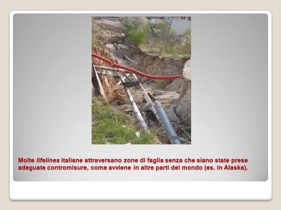 Molte lifelines italiane attraversano zone di faglia senza che siano state prese adeguate contromisure, come avviene in altre parti del mondo (es. in