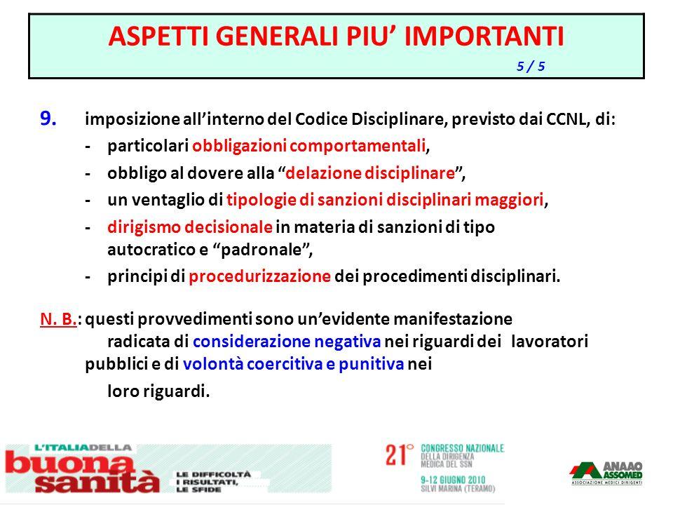 9. imposizione allinterno del Codice Disciplinare, previsto dai CCNL, di: -particolari obbligazioni comportamentali, -obbligo al dovere alla delazione