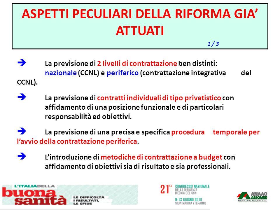 La previsione di 2 livelli di contrattazione ben distinti: nazionale (CCNL) e periferico (contrattazione integrativa del CCNL). La previsione di contr