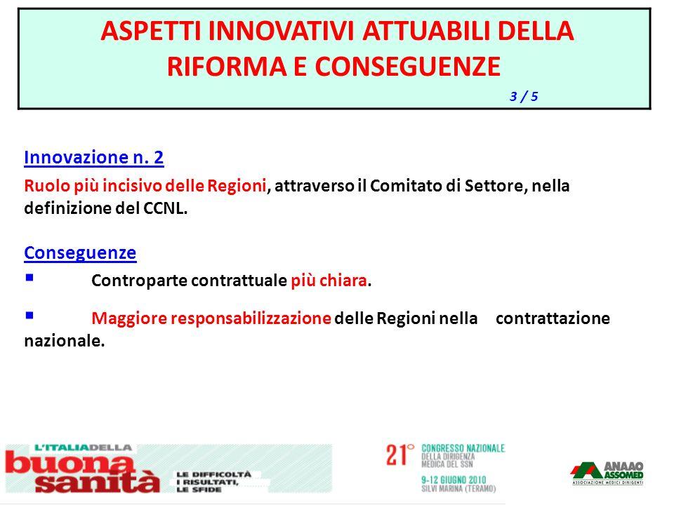 Innovazione n. 2 Ruolo più incisivo delle Regioni, attraverso il Comitato di Settore, nella definizione del CCNL. Conseguenze Controparte contrattuale