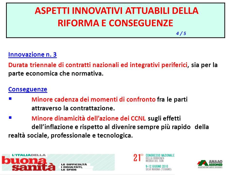 Innovazione n. 3 Durata triennale di contratti nazionali ed integrativi periferici, sia per la parte economica che normativa. Conseguenze M inore cade