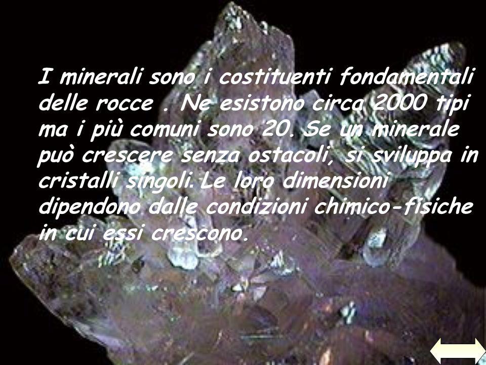 I minerali sono i costituenti fondamentali delle rocce. Ne esistono circa 2000 tipi ma i più comuni sono 20. Se un minerale può crescere senza ostacol