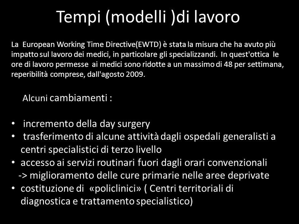 Tempi (modelli )di lavoro La European Working Time Directive(EWTD) è stata la misura che ha avuto più impatto sul lavoro dei medici, in particolare gl