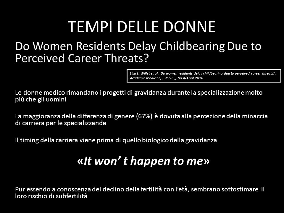 TEMPI DELLE DONNE Do Women Residents Delay Childbearing Due to Perceived Career Threats? Le donne medico rimandano i progetti di gravidanza durante la