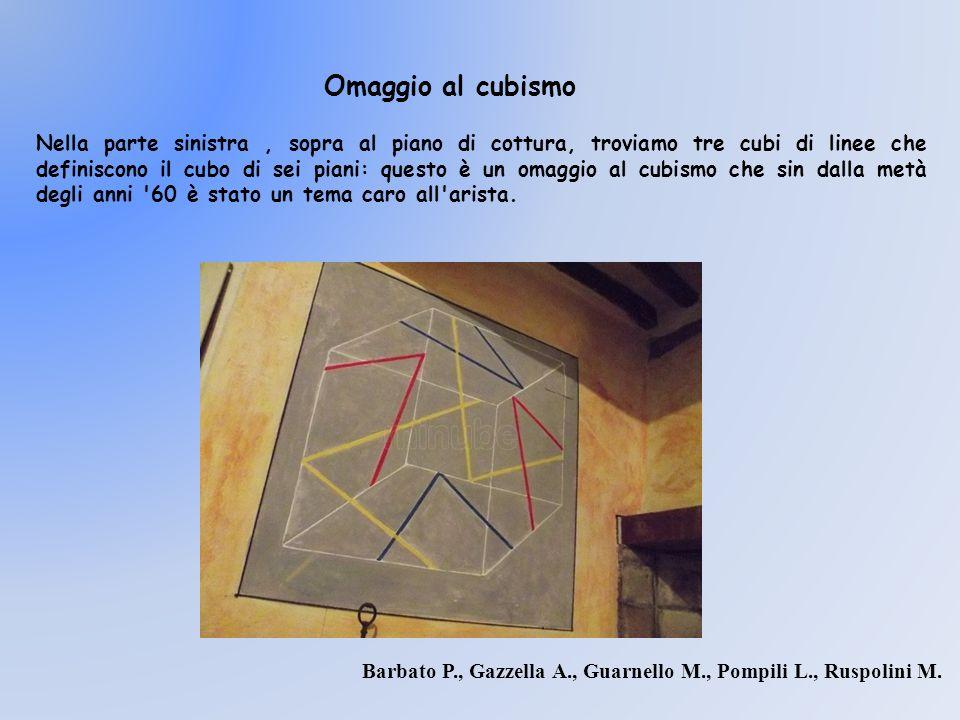 Nella parte sinistra, sopra al piano di cottura, troviamo tre cubi di linee che definiscono il cubo di sei piani: questo è un omaggio al cubismo che s