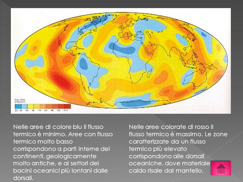 Nelle aree di colore blu il flusso termico è minimo. Aree con flusso termico molto basso corrispondono a parti interne dei continenti, geologicamente