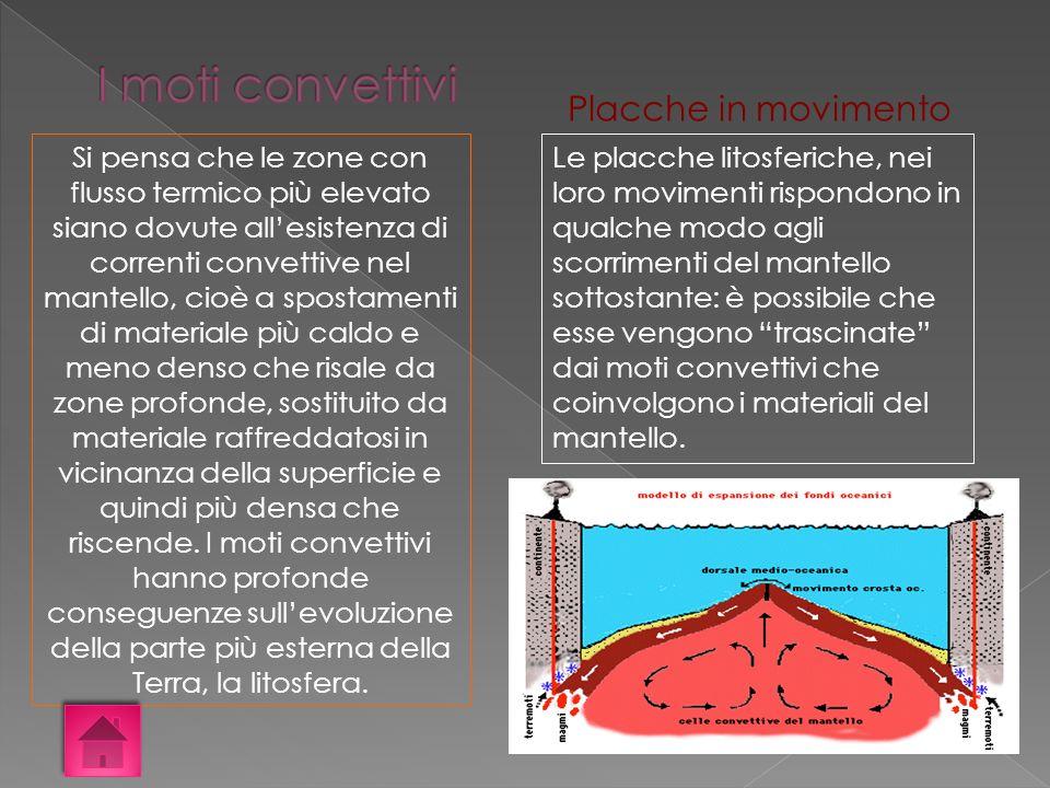 Si pensa che le zone con flusso termico più elevato siano dovute allesistenza di correnti convettive nel mantello, cioè a spostamenti di materiale più