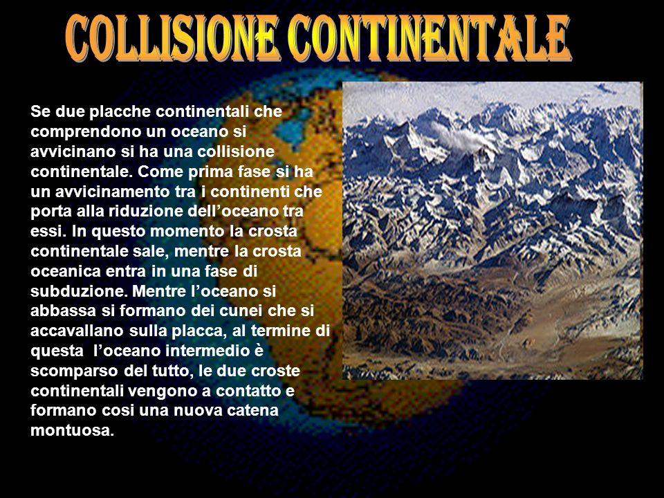 Se due placche continentali che comprendono un oceano si avvicinano si ha una collisione continentale. Come prima fase si ha un avvicinamento tra i co