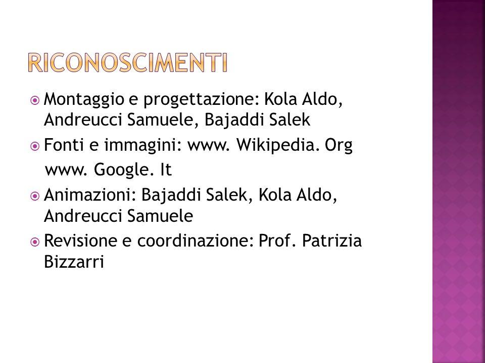 Montaggio e progettazione: Kola Aldo, Andreucci Samuele, Bajaddi Salek Fonti e immagini: www. Wikipedia. Org www. Google. It Animazioni: Bajaddi Salek