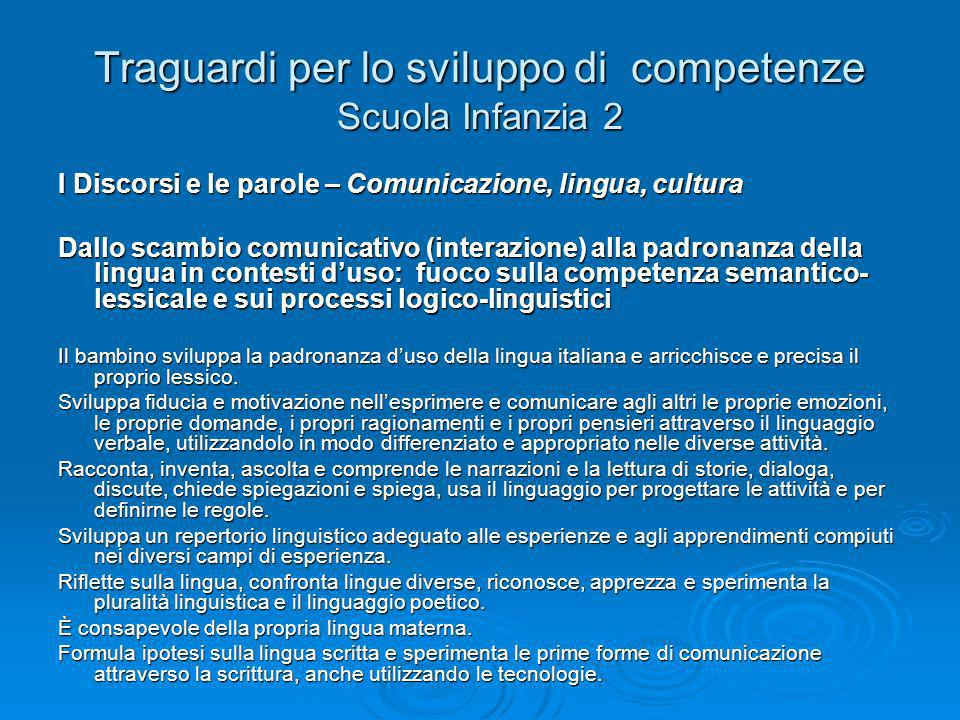 Traguardi per lo sviluppo di competenze Scuola Infanzia 2 I Discorsi e le parole – Comunicazione, lingua, cultura Dallo scambio comunicativo (interazi
