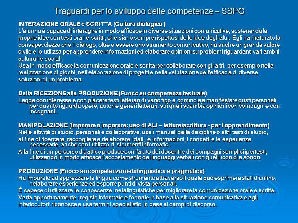Traguardi per lo sviluppo delle competenze – SSPG INTERAZIONE ORALE e SCRITTA (Cultura dialogica ) Lalunno è capace di interagire in modo efficace in