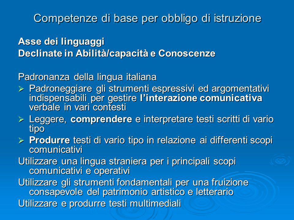 Competenze di base per obbligo di istruzione Asse dei linguaggi Declinate in Abilità/capacità e Conoscenze Padronanza della lingua italiana Padroneggi
