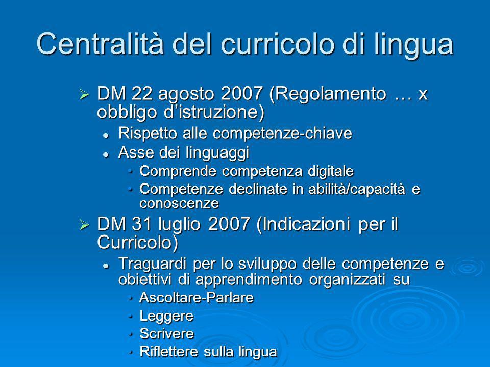 Centralità del curricolo di lingua DM 22 agosto 2007 (Regolamento … x obbligo distruzione) DM 22 agosto 2007 (Regolamento … x obbligo distruzione) Ris