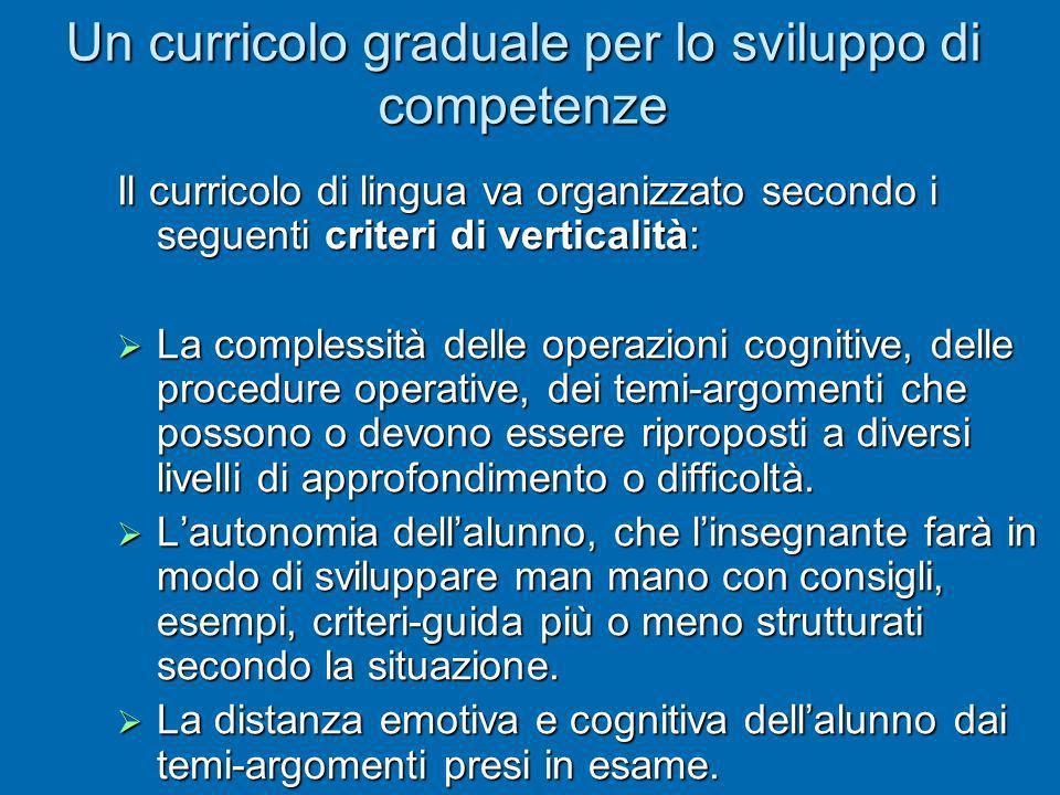 Un curricolo graduale per lo sviluppo di competenze Il curricolo di lingua va organizzato secondo i seguenti criteri di verticalità: La complessità de
