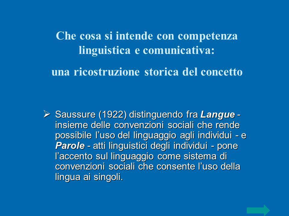 Saussure (1922) distinguendo fra Langue - insieme delle convenzioni sociali che rende possibile luso del linguaggio agli individui - e Parole - atti l