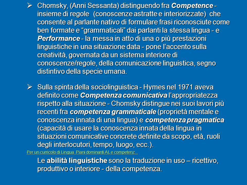 Chomsky, (Anni Sessanta) distinguendo fra Competence - insieme di regole (conoscenze astratte e interiorizzate) che consente al parlante nativo di for
