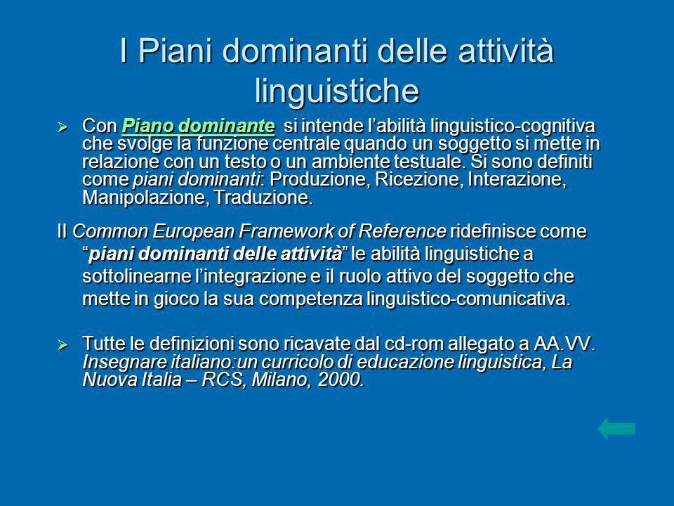 I Piani dominanti delle attività linguistiche Con Piano dominante si intende labilità linguistico-cognitiva che svolge la funzione centrale quando un