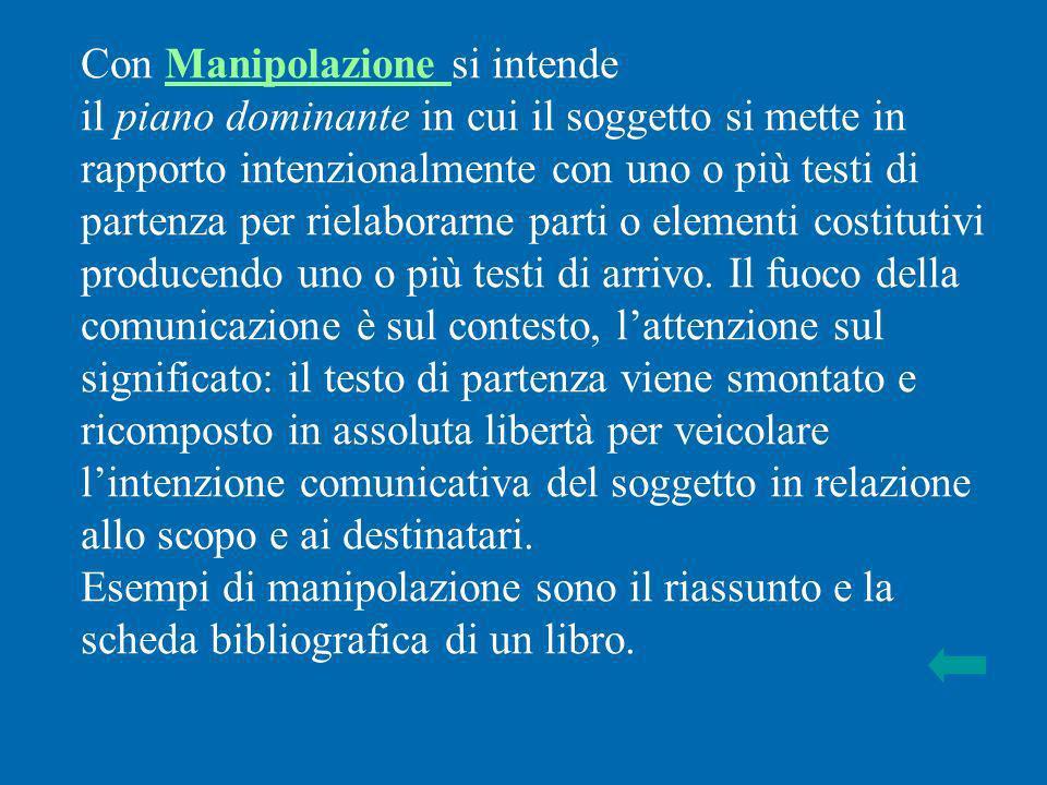 Con Manipolazione si intendeManipolazione il piano dominante in cui il soggetto si mette in rapporto intenzionalmente con uno o più testi di partenza