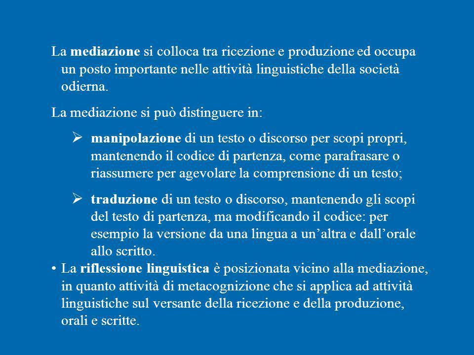 La mediazione si colloca tra ricezione e produzione ed occupa un posto importante nelle attività linguistiche della società odierna. La mediazione si