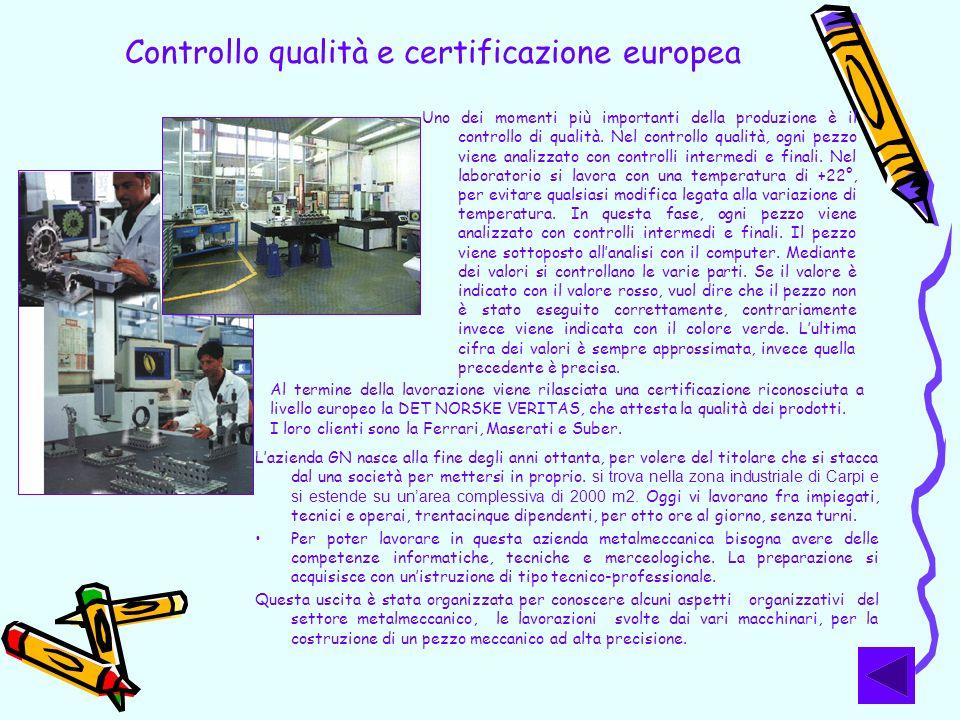 Controllo qualità e certificazione europea Uno dei momenti più importanti della produzione è il controllo di qualità. Nel controllo qualità, ogni pezz