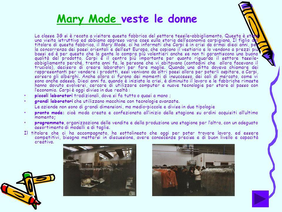 Mary Mode Mary Mode veste le donne La classe 3G si è recata a visitare questa fabbrica del settore tessile-abbigliamento. Questa è stata una visita is
