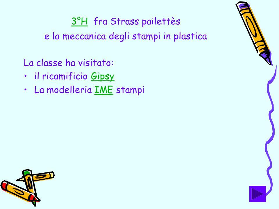 3°H3°H fra Strass pailettès e la meccanica degli stampi in plastica La classe ha visitato: il ricamificio GipsyGipsy La modelleria IME stampiIME
