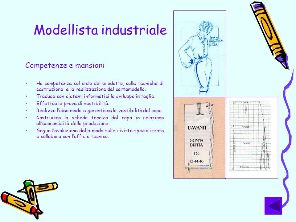 Modellista industriale Competenze e mansioni Ha competenze sul ciclo del prodotto, sulle tecniche di costruzione e la realizzazione del cartamodello.