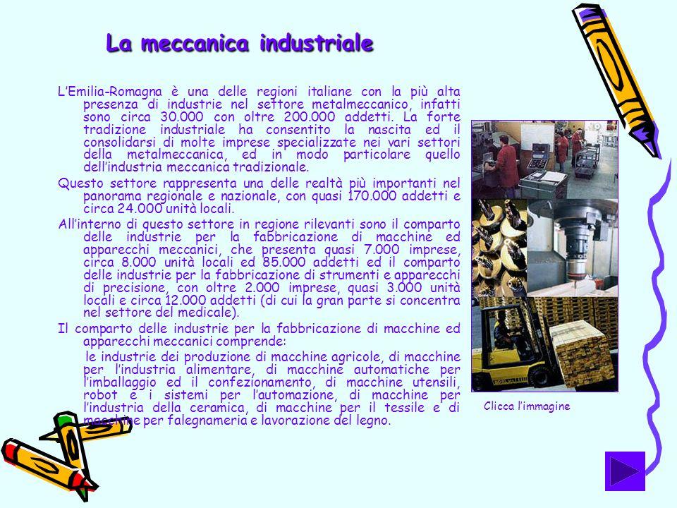La meccanica industriale LEmilia-Romagna è una delle regioni italiane con la più alta presenza di industrie nel settore metalmeccanico, infatti sono c
