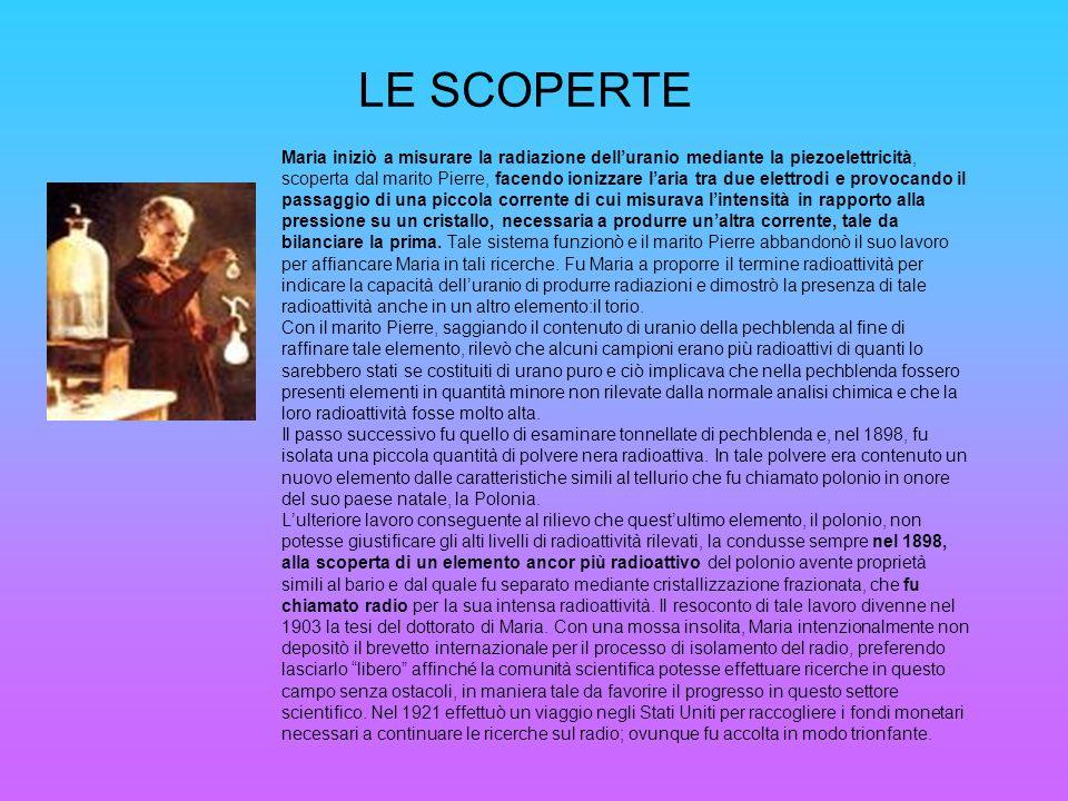 LE SCOPERTE Maria iniziò a misurare la radiazione delluranio mediante la piezoelettricità, scoperta dal marito Pierre, facendo ionizzare laria tra due