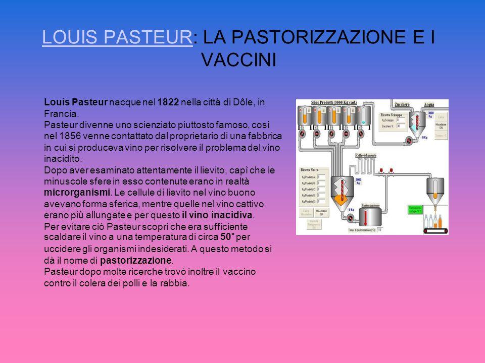 LOUIS PASTEURLOUIS PASTEUR: LA PASTORIZZAZIONE E I VACCINI Louis Pasteur nacque nel 1822 nella città di Dôle, in Francia. Pasteur divenne uno scienzia
