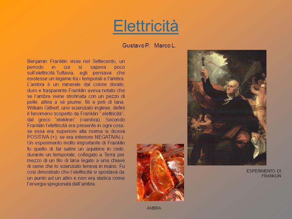 Elettricità Franklin scoprì che i fulmini colpivano gli oggetti alti e appuntiti e nel 1752 inventò il primo parafulmine.