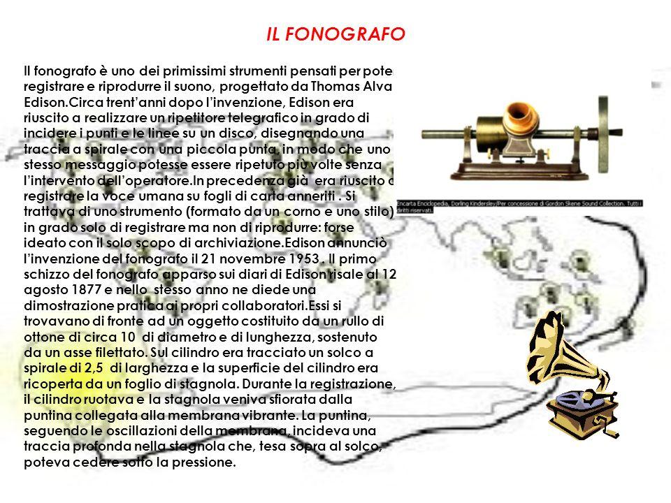 IL FONOGRAFO Il fonografo è uno dei primissimi strumenti pensati per poter registrare e riprodurre il suono, progettato da Thomas Alva Edison.Circa tr