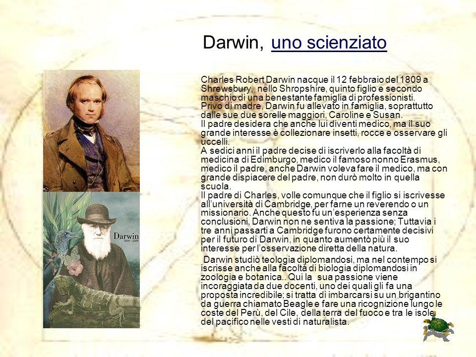 Darwin, uno scienziato Charles Robert Darwin nacque il 12 febbraio del 1809 a Shrewsbury, nello Shropshire, quinto figlio e secondo maschio di una ben