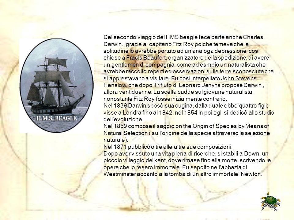 Del secondo viaggio del HMS beagle fece parte anche Charles Darwin., grazie al capitano Fitz Roy poiché temeva che la solitudine lo avrebbe portato ad