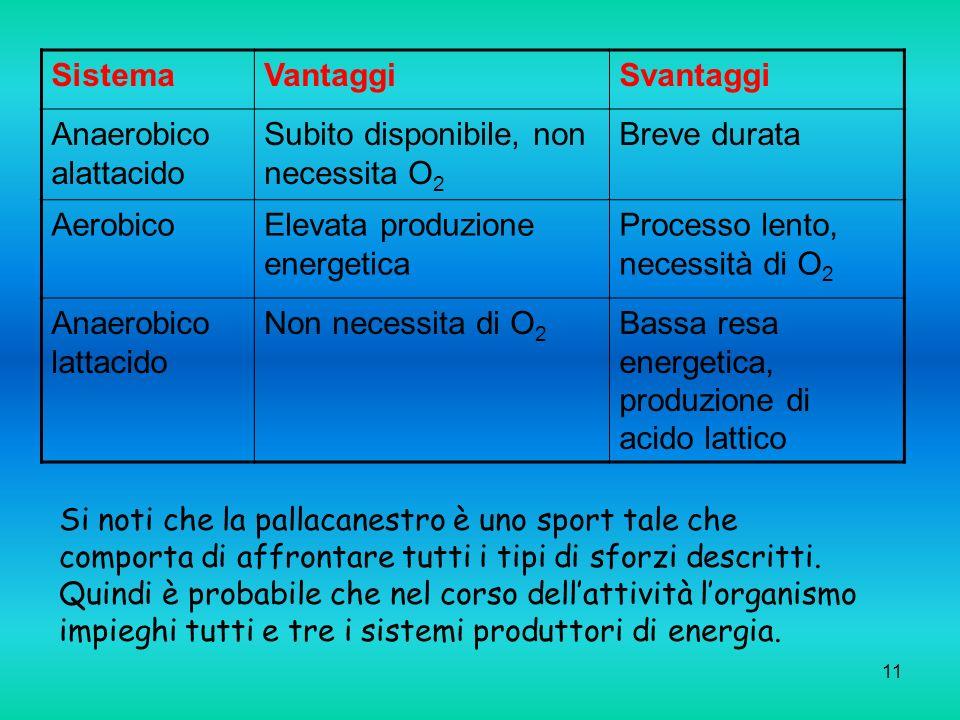 11 SistemaVantaggiSvantaggi Anaerobico alattacido Subito disponibile, non necessita O 2 Breve durata AerobicoElevata produzione energetica Processo le